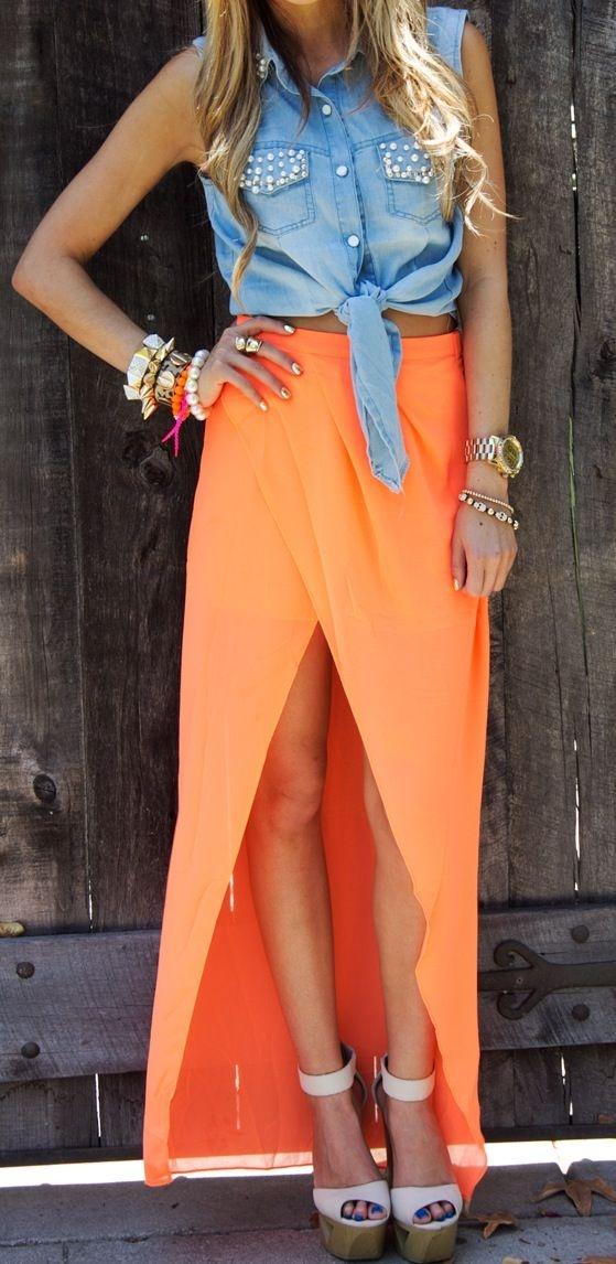 Love this orange and denim combo