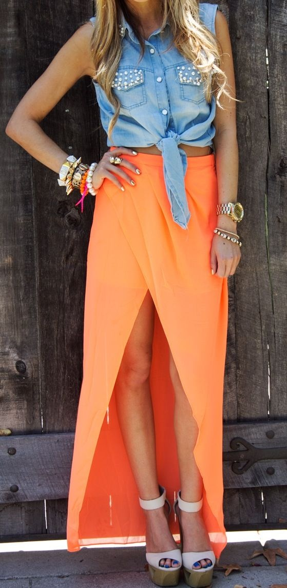 Love.: Fashion, Summer Outfit, Crop Tops, Color Combos, Denim Tops, Denim Shirts, Long Skirts, Summer Clothing, Maxis Skirts