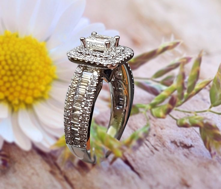 Linara Antique Style Emerald Cut Double Halo Setting with Baguettes & Round Sidestones in Platinum