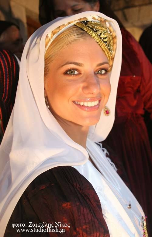 Gorgeous Greek woman in traditional clothes.Lefkada, Greece.