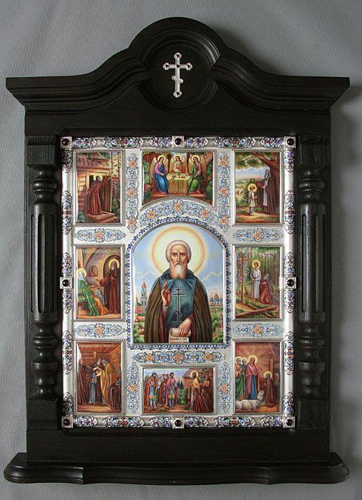 Икона преподобного Сергия Радонежского с клеймами, серебряный оклад, серебро, купить, заказать, горячие эмали, филигрань, перегородчатая эмаль