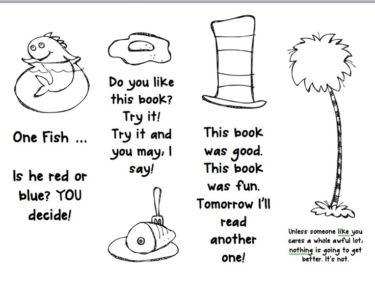 Free Printable Bookmarks To Coloring Dr Seuss