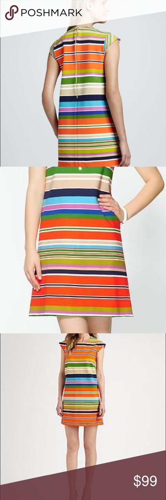 "Kate Spade Nico Dress worn once! Size 14 Step out in a sophisticated stripe that is distinctively kate spade new york. With its cap sleeves and exposed back zipper, the nico dress gives the shift silhouette new life for spring. Mixed stripes. Round neckline; cap sleeves. Straight skirt. Back zip. Shift silhouette. Approx. 36""L from shoulder to hem. kate spade Dresses Midi"