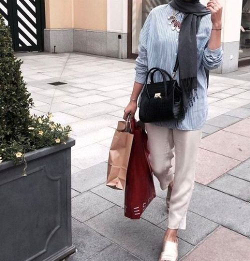 Striped shirt with pants-Flowy and cute hijab outfits – Just Trendy Girls