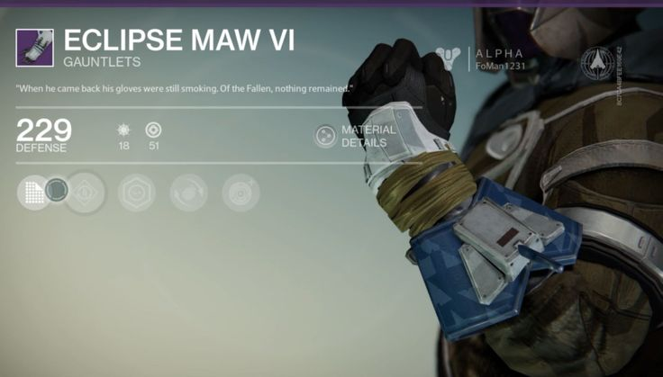 Eclipse Maw VI is a pair of Legendary Warlock Gauntlets, and is part of the Eclipse Maw VI armor set. At times, it can be purchased from Ikora Rey... #destiny