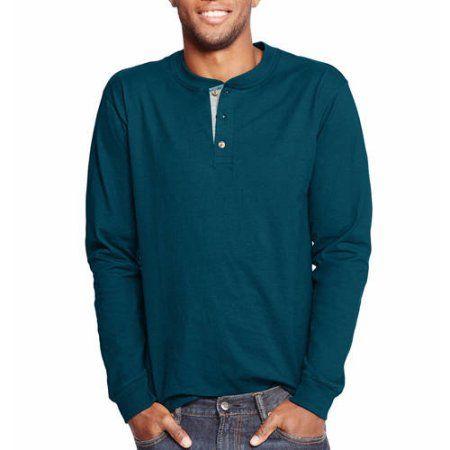 Hanes Men's Beefy Long Sleeve Henley T-shirt, Blue