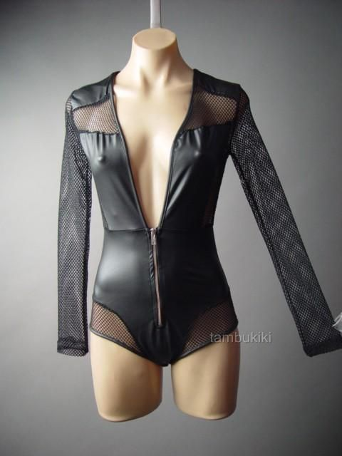 Black Faux Leather Fishnet Low-Cut Cyber Goth Club Top Leotard 106 fp Bodysuit L #Other #Bodysuit #Clubwear