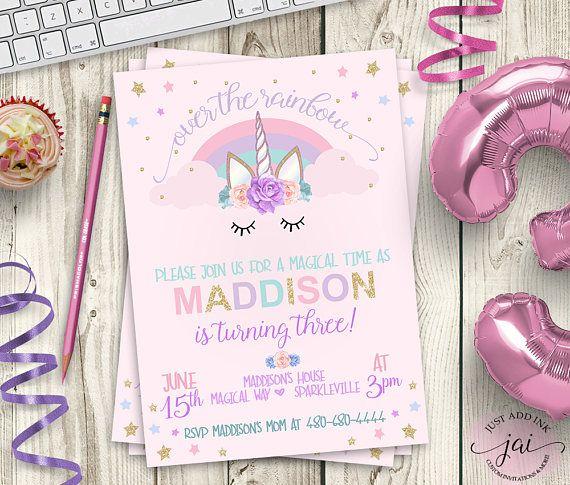 PRINTABLE Unicorn Invitation Unicorn Party Invitation