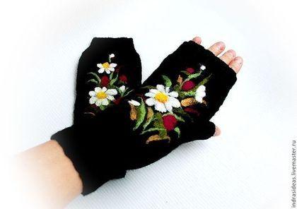 Черные Митенки с цветами - шерстяные варежки,зимние варежки,женские варежки
