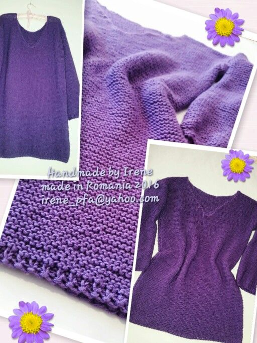 Knitted long pulliver dress polyacril silky yarn Saten