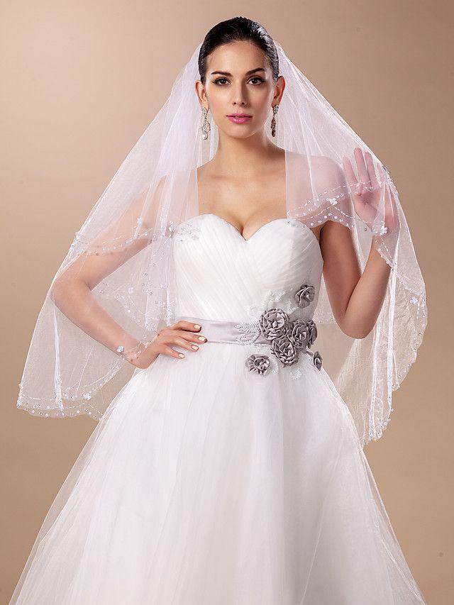Two-tier Fingertip Wedding Veil(More Colors) - GBP £29.19