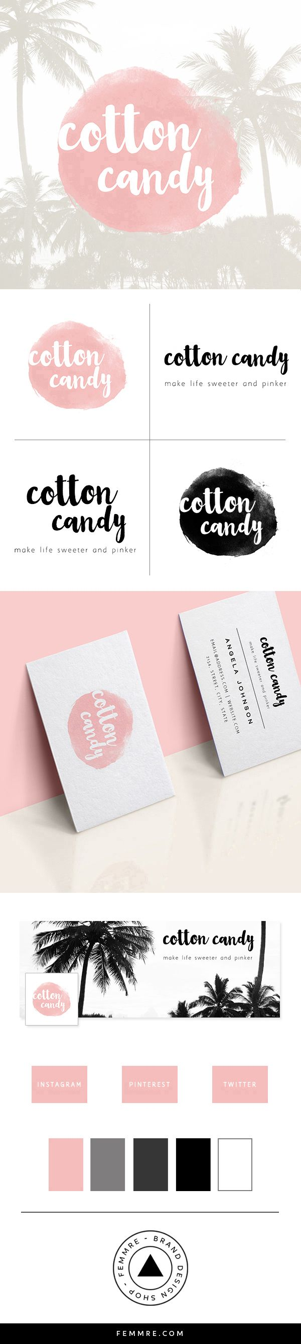 Cotton Candy Premade Brand Launch (sold only once)   FEMMRE - Luxe Brand Design Shop   logo design, brand design, branding, premade brand, premade logo