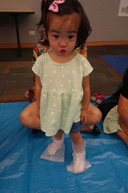 Little Literacy Librarian: Painting with Bubble Wrap Booties