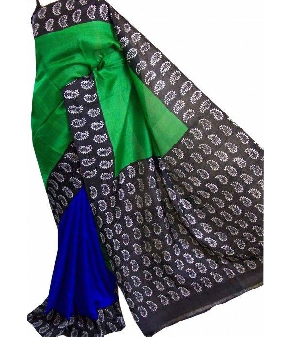 Green Handloom Block Printed Murshidabad Silk Saree