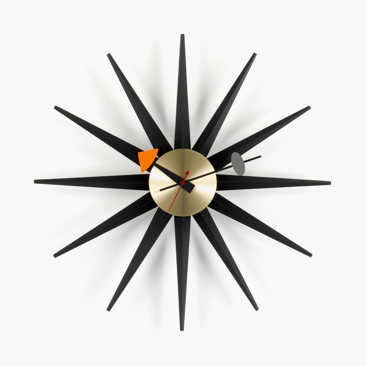 Now in black:  Sunburst Clock by George Nelson, 1946/1960 Photographer: Marc Eggimann © Vitra www.vitra.com/en-gb/product/192473?subfam.id=192475