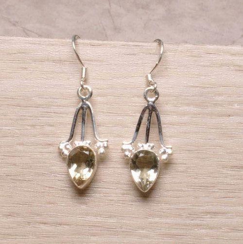 Natural PRASIOLITE (Green AMETHYST) Teardrop Gemstone, 925 Sterling Silver Elegant Jewellery Dangle Earrings! by Ameogem on Etsy