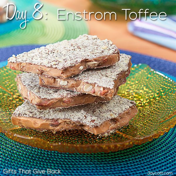 Yum! Today's #GiftThatGivesBack is almond toffee! Click to see why it rocks. http://www.joycott.com/blog/day-8-enstrom-toffee/