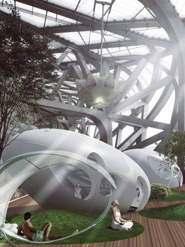"""steel framework of the Bird Nest portion of the hotel defines many private air courtyard spaces that are connected to """"egg villas.""""  These private villas and their private outdoor spaces connect to a closed corridor that leads users back to the main hotel space.  The seclusion and privacy provided by the separation of rooms from the main lobby space amplifies the surreal and individual experience experienced by the visitors."""