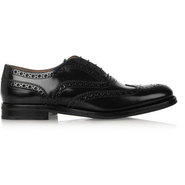 Church's The Burwood glossed-leather brogues ($435) ❤ liked on Polyvore featuring shoes, oxfords, flats, buty, oxford, обувь, black flats, oxford shoes, flat shoes and lace up oxford flats