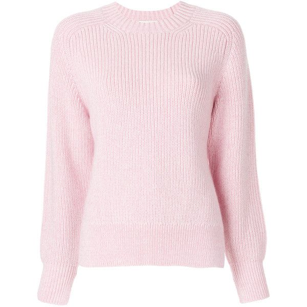 3.1 Phillip Lim Saddie sweater (£340) ❤ liked on Polyvore featuring tops, sweaters, light pink sweater, pink long sleeve top, asymmetrical tops, print top and print sweater