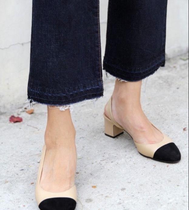 Chanel black cap toe slingback shoes on