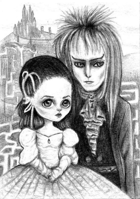 The Labyrinth David Bowie ACEO graphite art by TheRainbowRealm