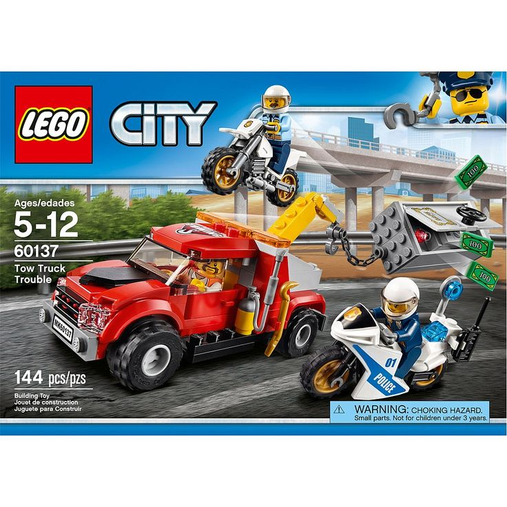 Be part of the action with the LEGO® City police as they race after the crook trying to tow away a safe. This set includes a tow truck with winch arm and hook, police off-road bike and a police pursuit bike with radio, plus a safe with a large opening door and smaller compartment inside, money bills, jewel and other accessory elements. Includes three minifigures.<BR><BR><LI>Features a tow truck, a safe, police off-road bike and a police pursuit bike.</LI><li>...