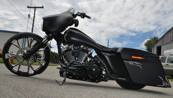 Custom HD street glide with awesome pin stripe on flat black paint