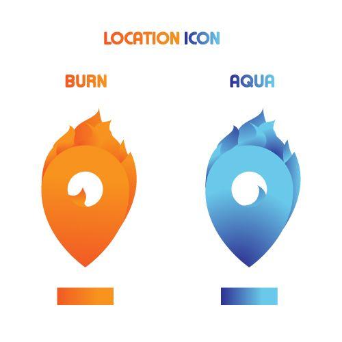 Map pin , Location burn and aqua style icon