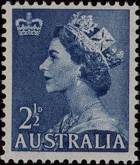 ACSC 294C) 1954. Queen Elizabeth II. 2½d. Perforation 15 x 14. No watermark. Deep Violet Blue