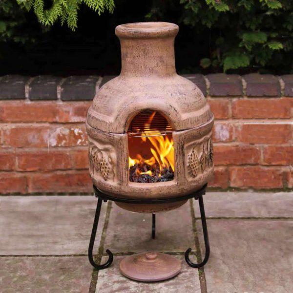 Gardeco Cozumel two part Clay Chiminea & BBQ grill | Chimenea BBQ