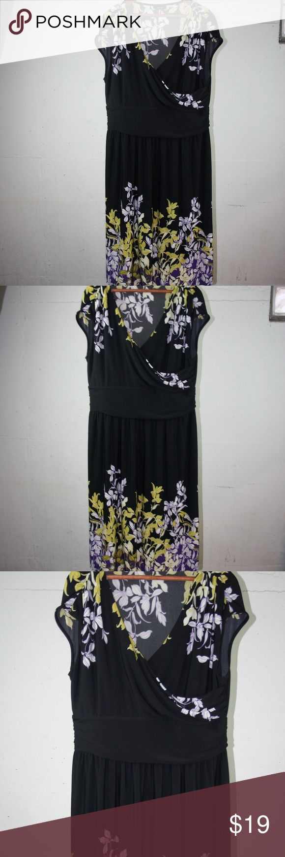 "Black, purple and green floral, V neck Dress. XL APT 9 Black dress, with purple and green floral design.  wide waist band and faux wrap/ v- neck line.  Sleeveless.  Worn once.  Size is XL (size tag is missing) 96% polyester/ 4% spandex Measures:  Shoulder to shoulder-19"" underarm to underarm-19"" Waist-16 "" Length (shoulder to hem) 40"" Thank you for your interest!   Z Apt. 9 Dresses"