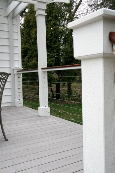Nice deck rail option with wire - this does look nice with the white
