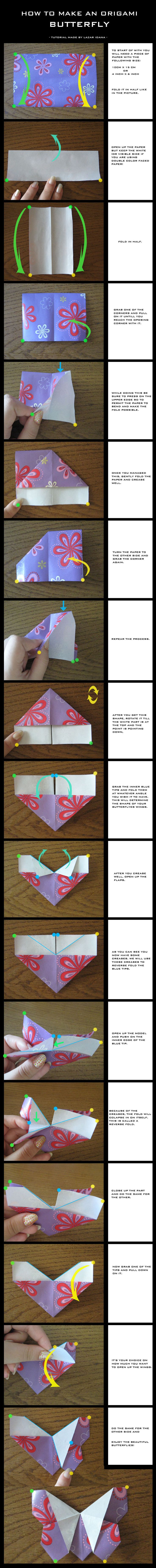Tutorial: Origami Butterfly by DarkUmah.deviantart.com on @deviantART