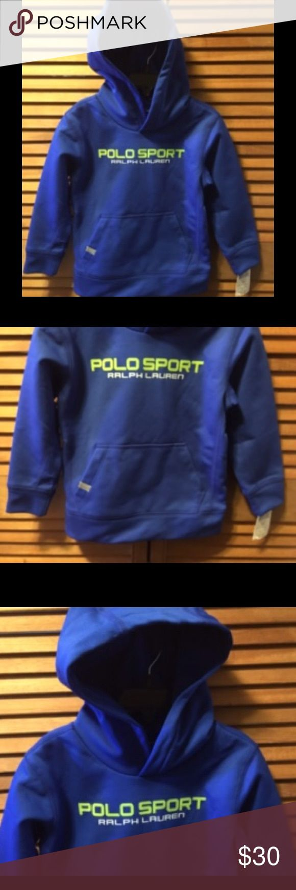 Polo Sport Ralph Lauren Royal Blue Hoodie Royal blue hoodie with lime green and white lettering on the front and Polo P67 on back left side, front hand warming pockets with lined hood. 4T. 100% polyester. NWT Polo by Ralph Lauren Shirts & Tops Sweatshirts & Hoodies