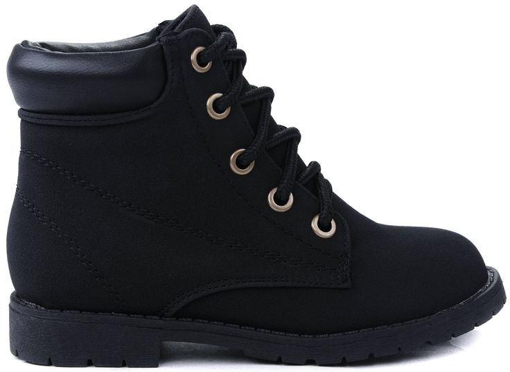 """JJF Shoes Bade Kids Girls Black Combat Military Lace Up High Top Ankle Boots-4. Fit: For little girls / Medium (B, M) / True to size. Heel 0.75"""", Shaft w/o Heel 3.65"""", Top Opening Circumference 7.5""""( Measurements may vary slightly). Features: A round toe, lace up front with sturdy metal grommets, stitching details, and cushioned collar. Completed with soft interior lining, cushioned insole and non-skid rubber sole for comfort wear. Please note that the fit and color may vary slightly..."""