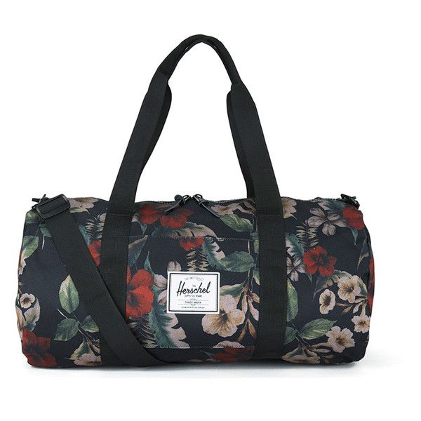 Herschel Sutton Mid-Volume Hawaiian Camo Print Duffle Bag - Black ($79) ❤ liked on Polyvore featuring bags and luggage
