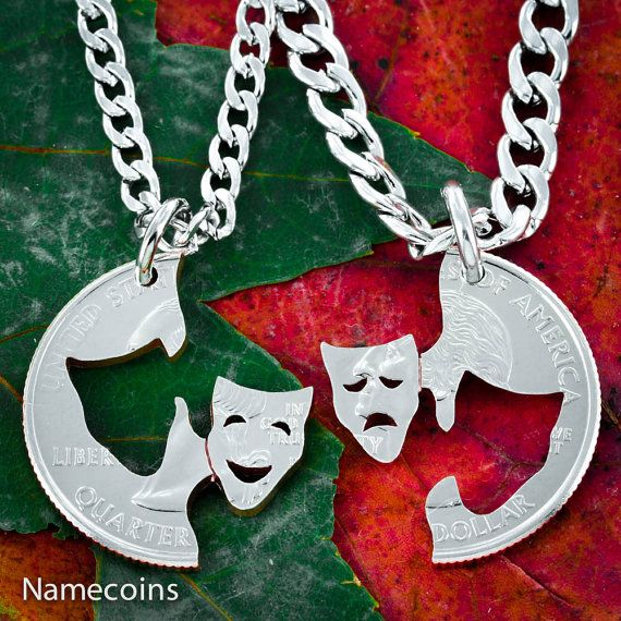 Comedy and Tragedy Theater Necklaces hand cut coin by NameCoins