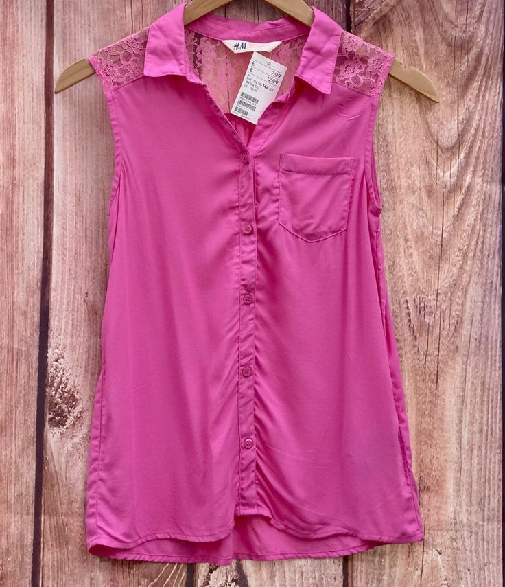 H&M girls sleeveless shirt pink, new with tags AGE 10-11 vest summer holiday