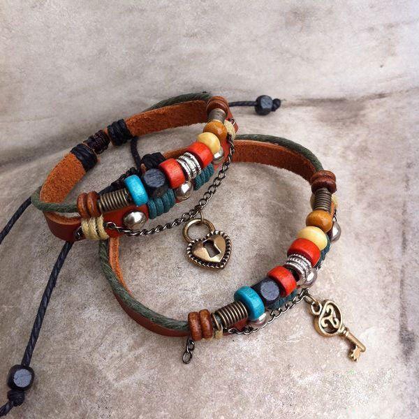 Handmade Leather Weave Lovers Bracelets