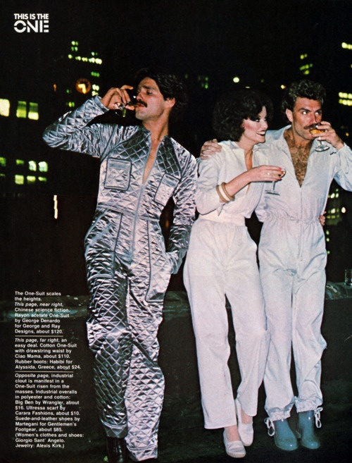 Wow! 1970s His and Hers Jumpsuits. That quilted silver jumpsuit is outta sight!