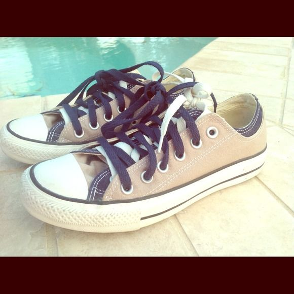 Tan and Navy Converse Sneakers Double tongued and double strapped converse. Tan/beige and navy in color, worn gently, in great condition! 👍 matches with many and is great for uniform. You can't get these babies in store anymore so get them while you can. Converse Shoes Sneakers