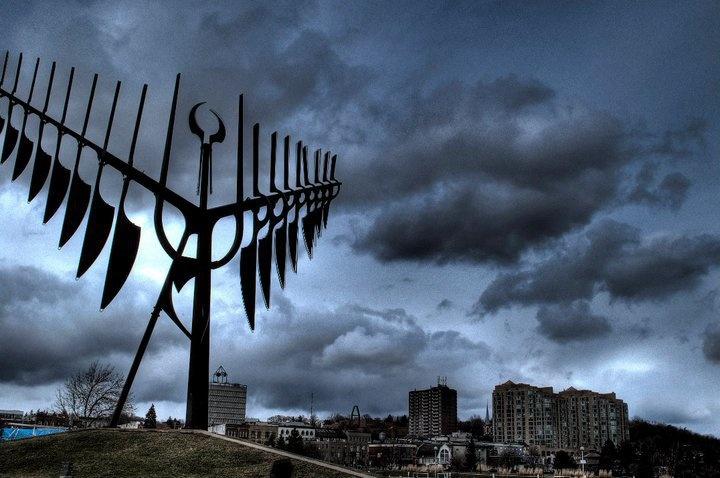 Spirit Catcher sculpture in Barrie, Ontario | HDR