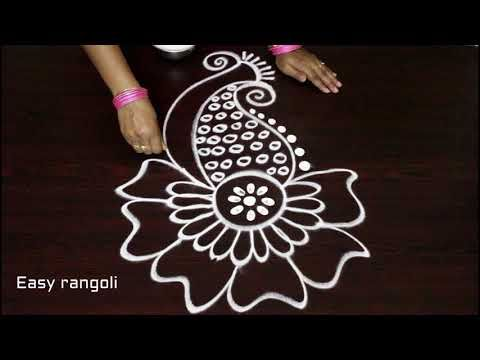 easy free hand rangoli designs * simple kolam with out dots * how to draw latest muggulu designs - YouTube