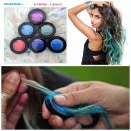 MAKE UP para el cabello Maquillaje temporal para el cabello. Disponible en colores super vibrantes con los que podrás crear mechas californianas de colores o colorear tu melena entera SOLO POR UN DIA o mas...tu decides!!!