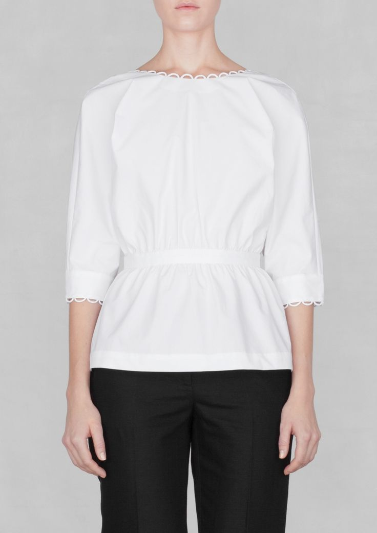 & Other Stories | White Cotton blouse with deep V back (White)