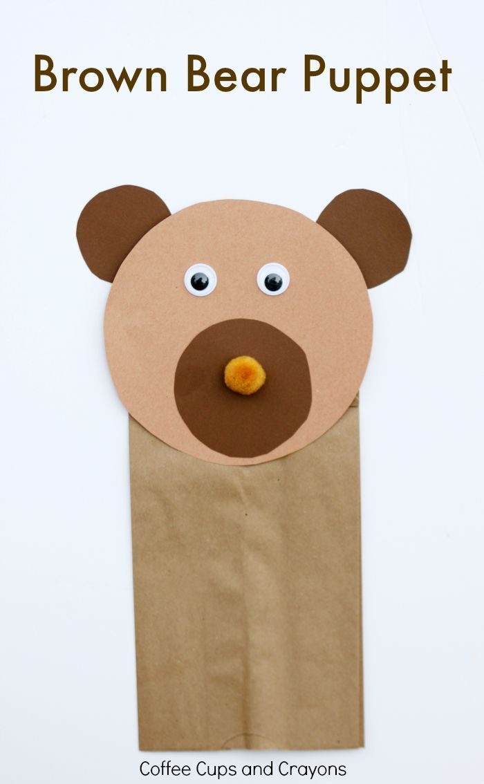 Brown Bear Puppet Craft for Preschool! Free printable tracers in the post.