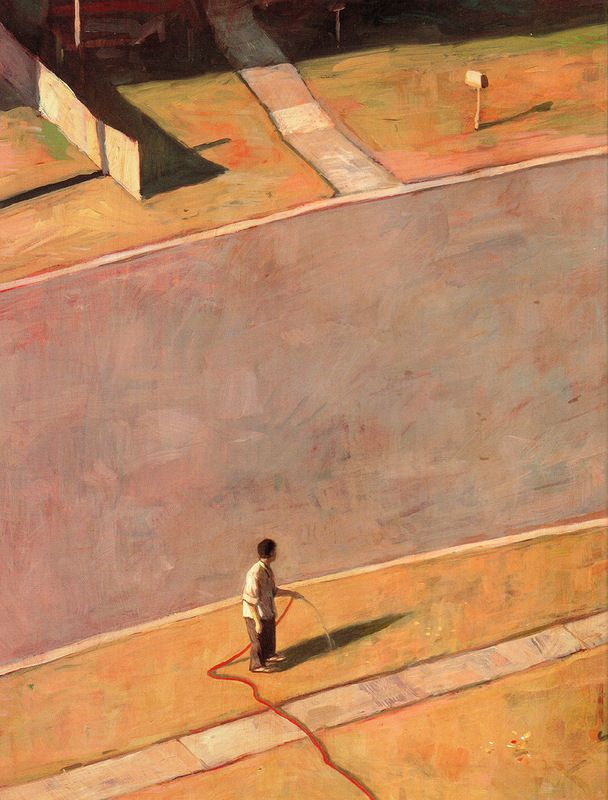 Tales From Outer Suburbia | Shaun Tan  really love the colors at play here. serene shades of brown and tan with contrasting mute shades of green really portray the feeling of summer in the suburbs.