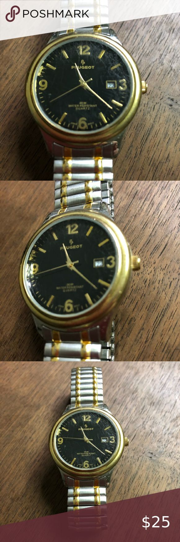 Men S Peugeot Watch In Silver And Gold Guc Men S Peugeot Watch Gold And Silver Stretch Band Good Used Condition See In 2020 Silver Stretch Bands Mens Accessories