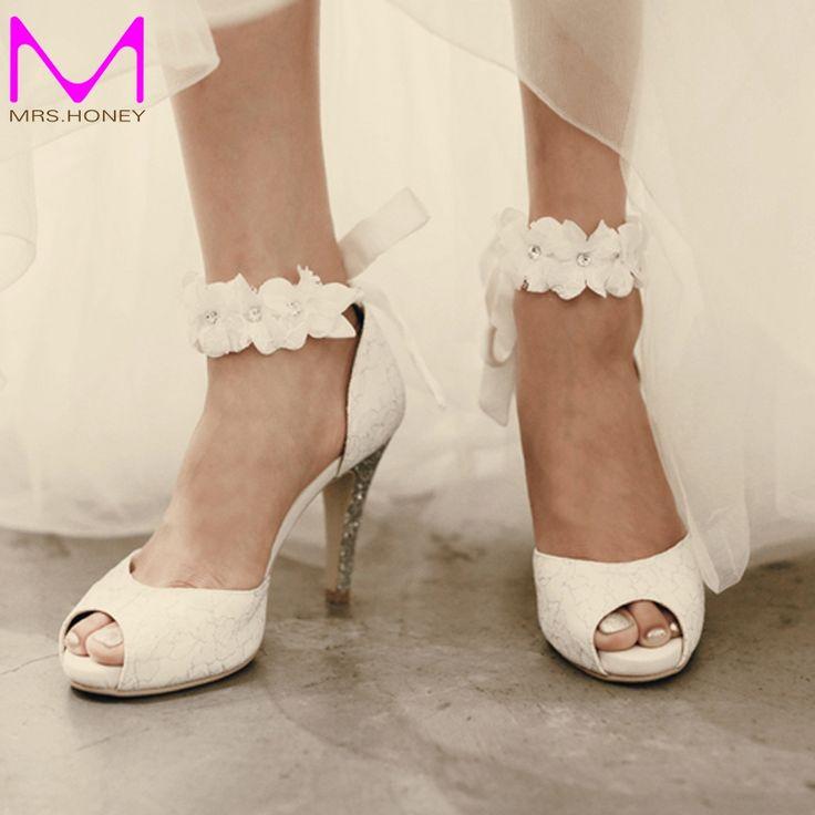 2016 peep-toe Dame Formal Kleid Schuhe Frauen Schuhe mit hohen absätzen Schöne Weiße Spitze Hochzeit Braut Party Prom schuhe Pageant Pumpen //Price: $US $71.99 & FREE Shipping //     #dazzup